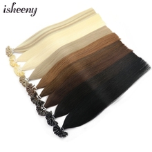 """Isheeny 12 """"14"""" 18 """"20"""" 22 """"Fusion Hair Extensions Remy Nail U Tip Straight Pre  Bonding Human Hair Op Capsuel"""