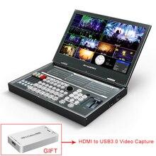 Avmatrix PVS0615 1080p 레코드가있는 휴대용 6 채널 멀티 포맷 비디오 스위처 SDI HDMI 믹서
