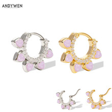ANDYWEN New 925 Sterling Silver Purple Pink Opals Flower Huggies Middle Hoops Goold Circle Round Loo