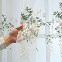 White embroidered floral tulle curtains for bedroom sheer  window curtains living room  bedroom  ready made