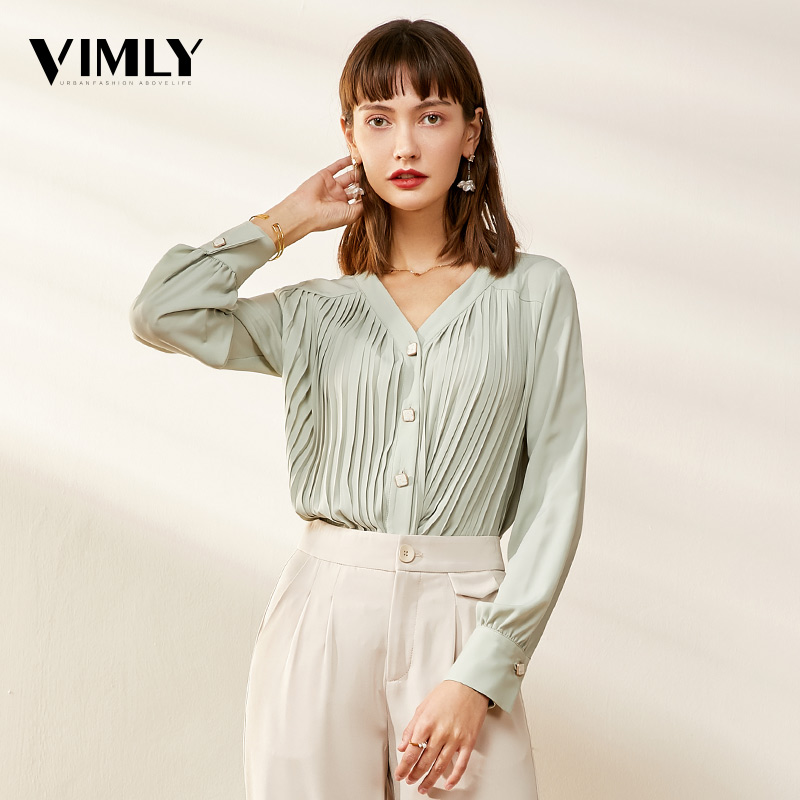Vimly V Neck Office Ladies Chiffon Blouses Shirts Spring Solid Long Sleeve Female Elegant Black Pleated Blouses Tops фото