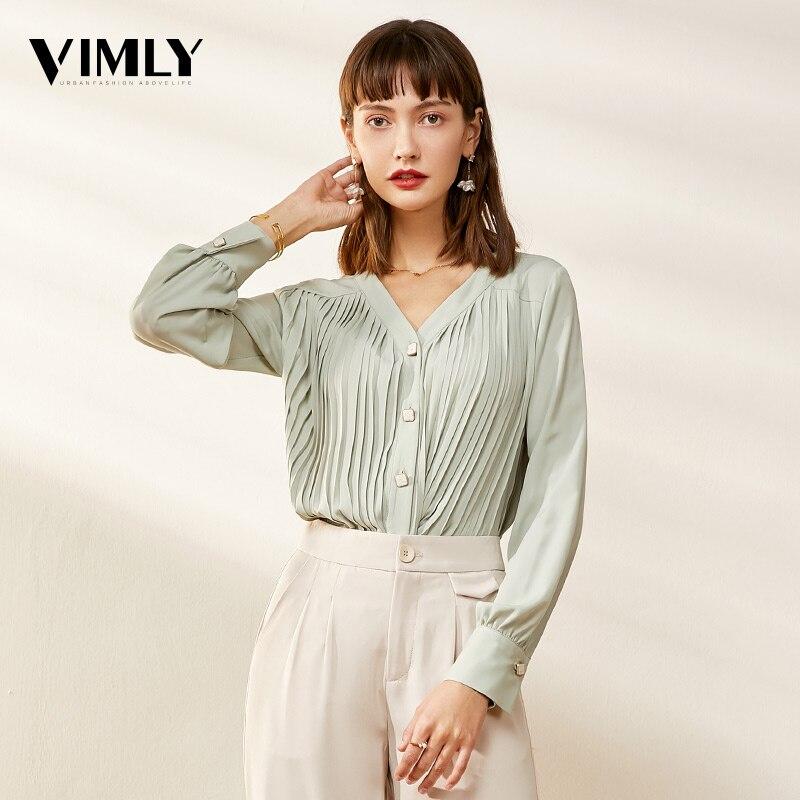 Vimly V Neck Office Ladies Chiffon   Blouses     Shirts   Spring Solid Long Sleeve Female Elegant Black Pleated   Blouses   Tops