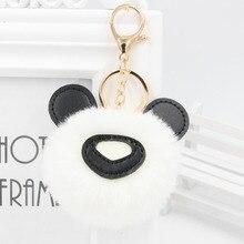 8cm Rex Rabbit Fur Cute Panda Fluffy Key Chains Ball Ring Pendant Keychain for Women Car Keys Gift to Girlfriend Trinket