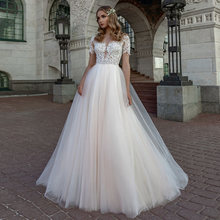 Очаровательные свадебные платья трапеции из тюля 2021 прозрачное