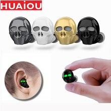 HUAIOU גולגולת עצם Bluetooth אוזניות עם מיקרופון רעש ביטול Hi Fi דיבורית בס סטריאו מיני מיקרו Earbud אפרכסת