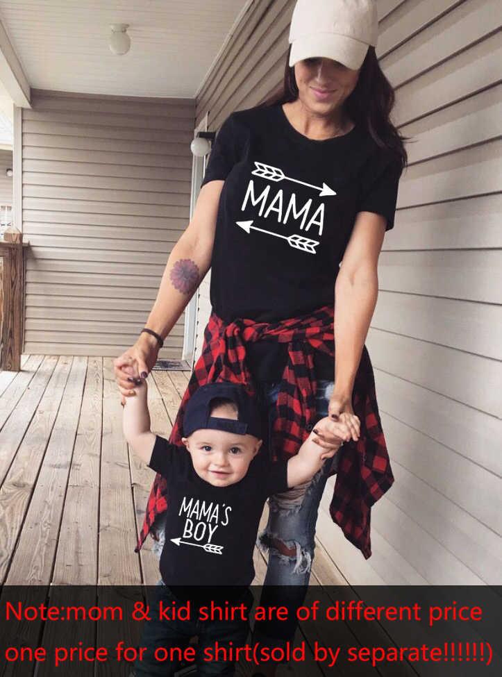 1Pcs Mommy & Meเสื้อMamaและMamas Boyแม่การจับคู่เสื้อMama 'S Boy Mamaด้วยลูกศรMom Of Boys Boy Momชุด