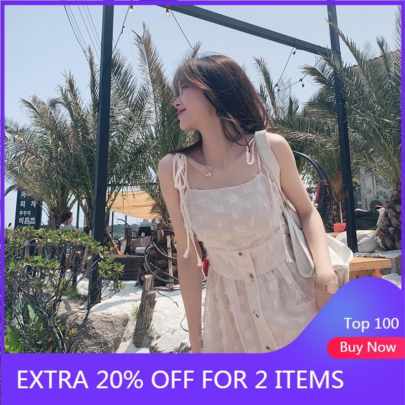 Mishow 2019 Summer Women Modern Holiday Beach Dress Lady Sleeveless High Waist Mid-length Sweety Dresses Women MX19B1093