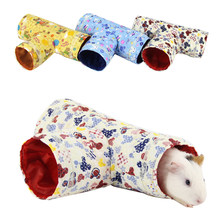 Pet Tubes Bed Nest For Rabbits Ferrets Pet Hamster T-Shaped Tunnels Toy Small Animals Toys Guinea Pig Tubes House Playing Hut(China)