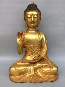 16 Tibet Buddhism Temple bronze Gilt gold Shakyamuni Buddha Statue Medicine Amitabha