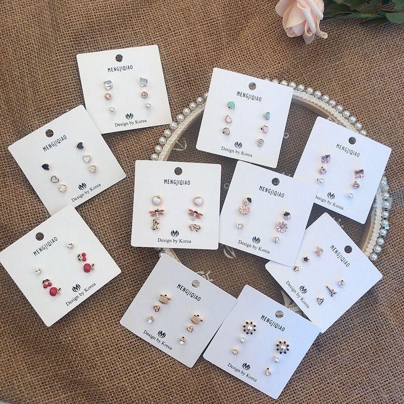 MENGJIQIAO New Cute Sweet Fruit Cherry Heart Stud Earrings For Women Delicate Crystal Boucle D'oreille Students Jewelry 6pcs/set
