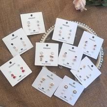 MENGJIQIAO-boucles d'oreilles en forme de cœur de cerise pour femmes, boucles d'oreilles en cristal délicates, bijoux pour étudiantes, nouvelle collection, 6 pièces/ensemble