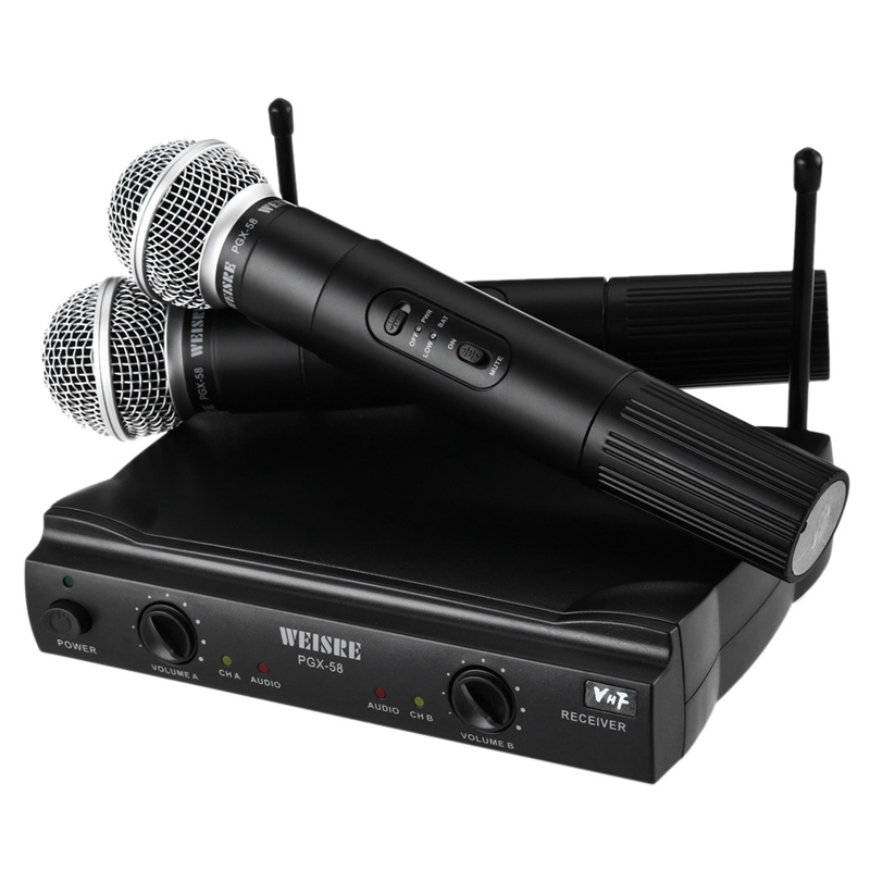 WEISRE PGX-58 High Quality VHF Profeesional Wireless Microphone One Drag Two Classic Handheld Microphone Home KTV Audio