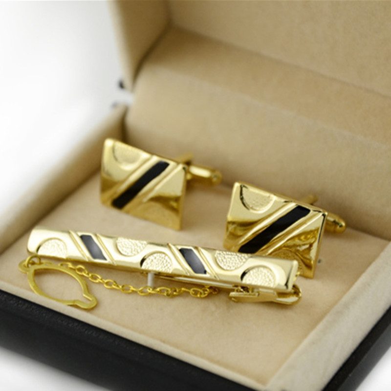 Luxury Cufflinks Tie Clips For Men Set Tie Bar Curve Stripes Cufflinks Tie Pin Cuff Links Set Men Gifts Mens Fashion Jewelry