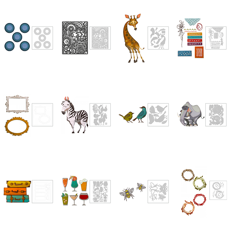 2020 Hot New Animal Metal Cutting Dies Scrapbooking Bee And Flower Background Frame Stencil Foil For Craft Card Making Stamp Set image