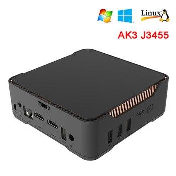 AK3V Mini PC 6GB 64GB  Intel Apollo Lake Celeron J3455 2.4GB/5GB Dual WIFI 1000M LAN BT HDMI VGA HD WIN 10 LINUX Nettop PC