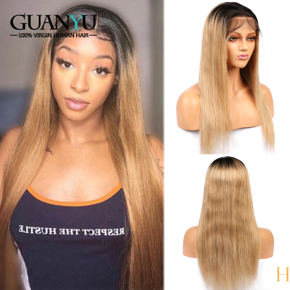 Honey Blonde 360 Lace Frontal Wigs Ombre Brazilian Remy 1B/27 Lace Front Human Hair Wig Pre Plucked With Baby Hair 150 Density