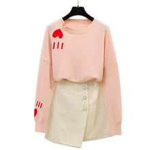 Two-Piece Clothing Set Women New Winter Knitting Love A Word Skirt Pink Sweater & Button Skirts Short Skirt Top Knitwear stylish short sleeve pink knitwear and floral skirt women s suit