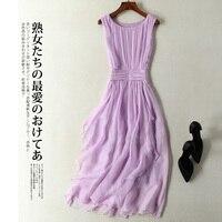 Summer Dress Women 100% Real Silk Long Dresses Sleeveless White Pink Dresse Party Dress Vestidos Verano 2012 Clothes 9925