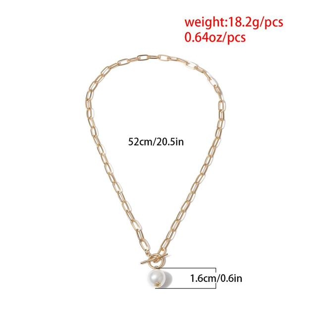 lovely rectangle chain with pearl drop necklace 6
