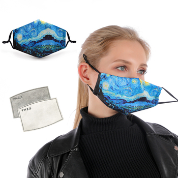 1PC VINCENT VAN GOGH ART Printing Reusable Protective PM2.5 Filter mouth Mask anti dust Face Mask image