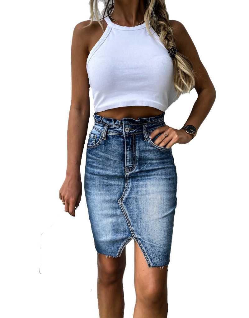 カジュアルハイウエストデニムスカートフリルライトウォッシュ女性ユーズド加工ミニペンシルスカート女性のセクシーな夏のヴィンテージジーンズスカート
