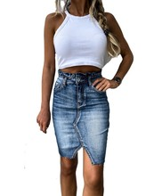 Casual di Alta Denim Della Vita del Pannello Esterno dell'increspatura Luce di Lavaggio Delle Donne Distressed Mini Matita delle signore del Pannello Esterno Sexy Strappato dell'annata di Estate gonna jeans(China)