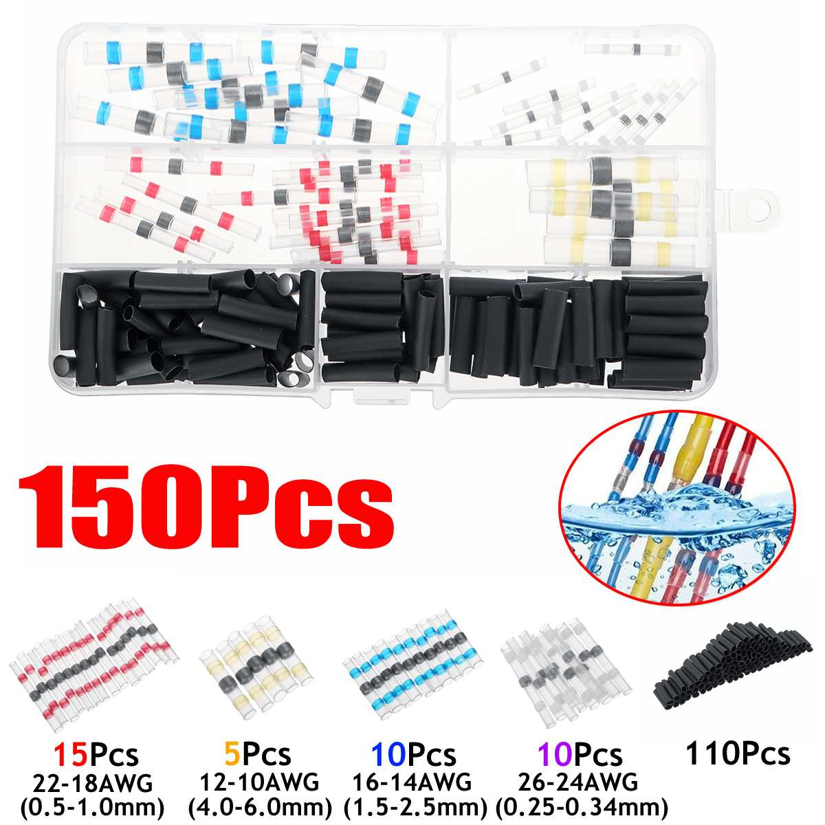 100/150pcs Heat Shrink Tubing Electrical Insulation Shrinkable Tubes 2:1 Electrical Wire Cable Wrap Assortment Sleeve Kit