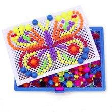 Грибная головоломка для ногтей, обучающая Дидактическая интеллектуальная игра, сделай сам, пластиковая доска, детская развивающая игрушка, случайный цвет
