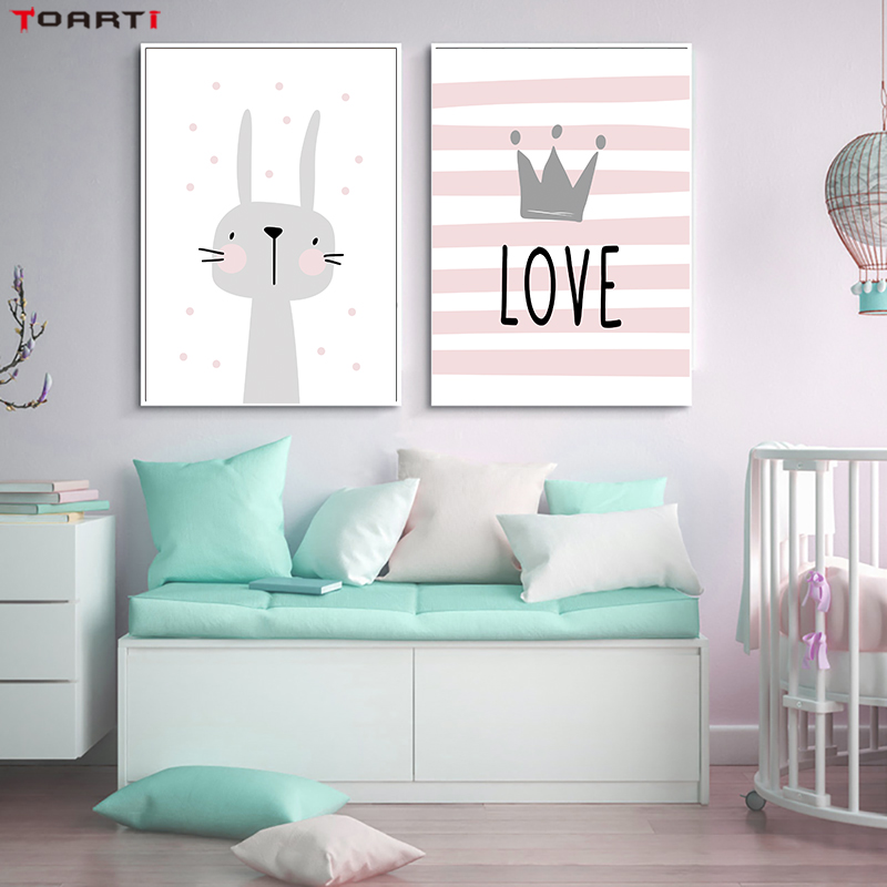 Pink Cartoon Nursery Girl Wall Picture Poster Print Rabbit Crown Baby Room Modern Canvas Painting Kids Children Wall Art Mural (1)