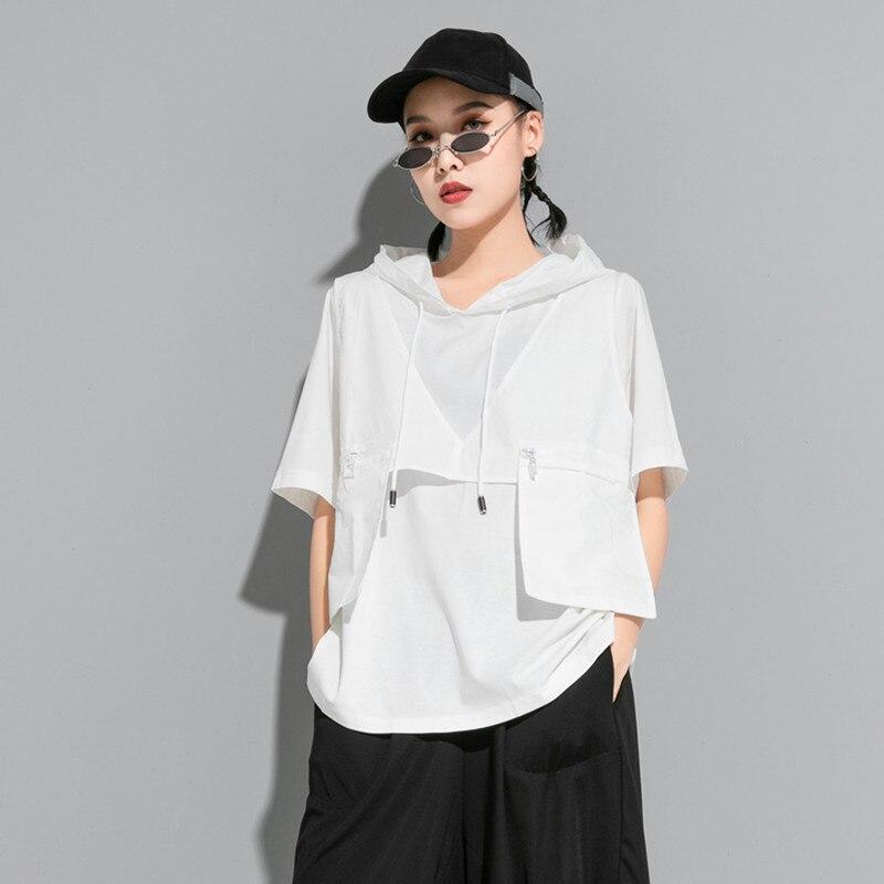 [EAM] Women Contrast Color Split Pocket Irrgular Big Size T-shirt New Hooded Short Sleeve  Fashion Tide Spring Summer 2020 1U512 2