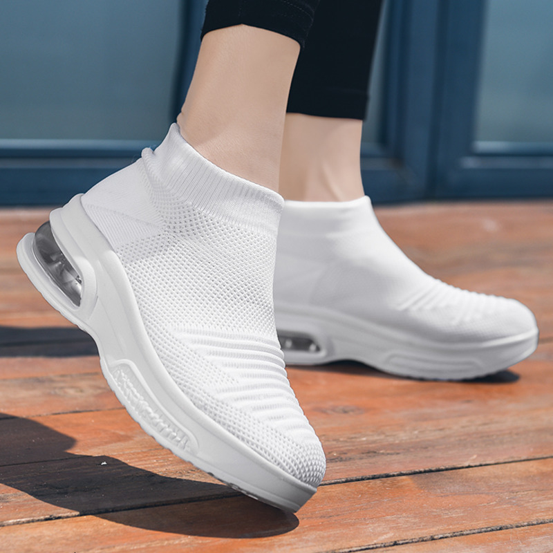 High Top Women Shoes Sport Mesh Sneakers Breathable Elastic Sock Fashion Platform Shoes Height Increasing White Ladies Shoes New