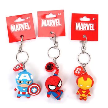 Original Disney Marvel Avengers 4 Captain America Keychain Iron Man Key Chain Spider-man Cartoon Doll Pendant