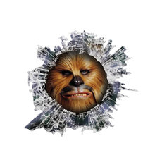 Creative car sticker decal 3d chewbacca glass slag animal motorcycle