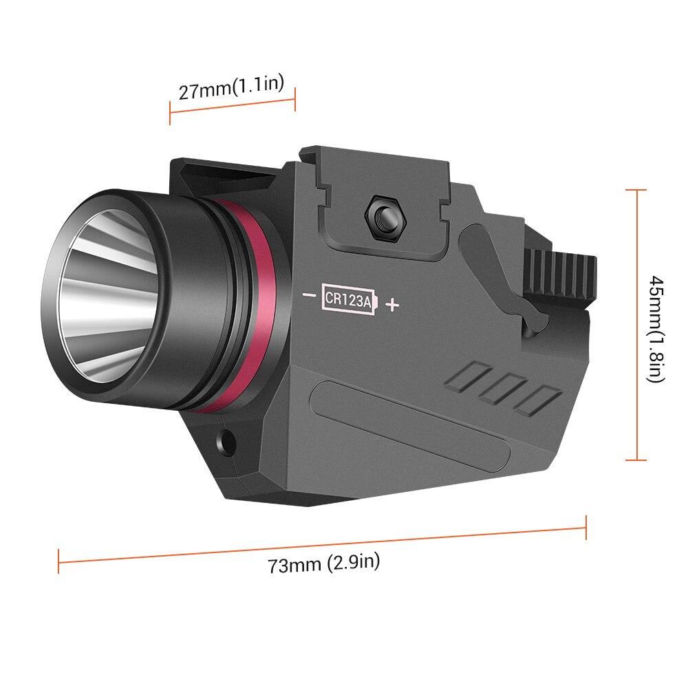 Tactical LED Gun Light Flashlight Red Laser Sight Portable Pistol Gun Light Military Airsoft Weapon Light for Hunting Shooting-2