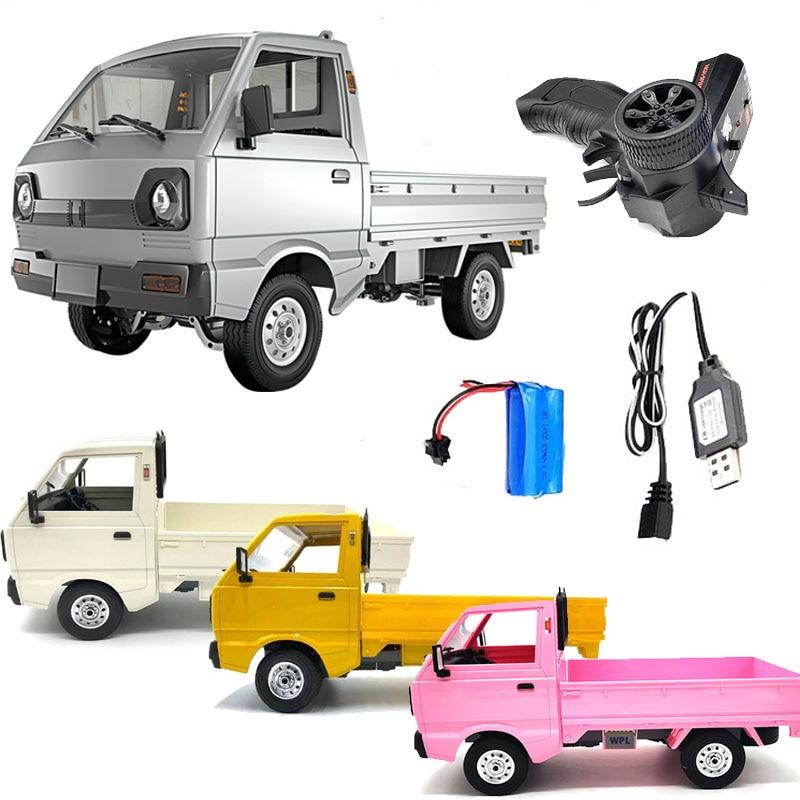 Wpl d12 1/10 2wd rc carro simulação deriva caminhão escovado 260 carro de escalada do motor led luz on-road rc carro brinquedos para meninos crianças presentes