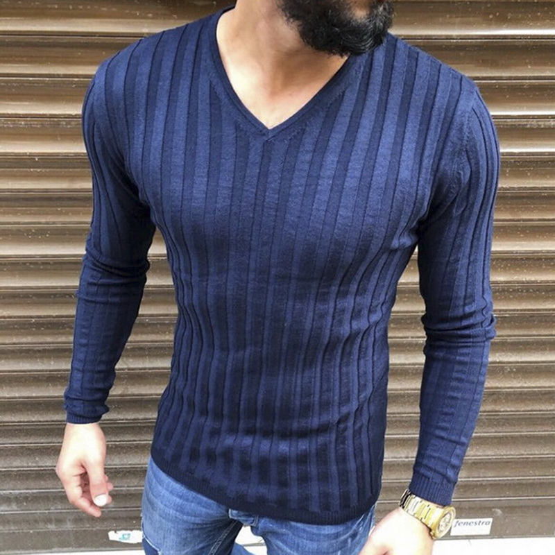 Men Fashion Spring Autumn Warm Casual Sweaters Male V-neck Long Sleeve Striped Knitted Pullover Men Base Shirt Tops 2019 New