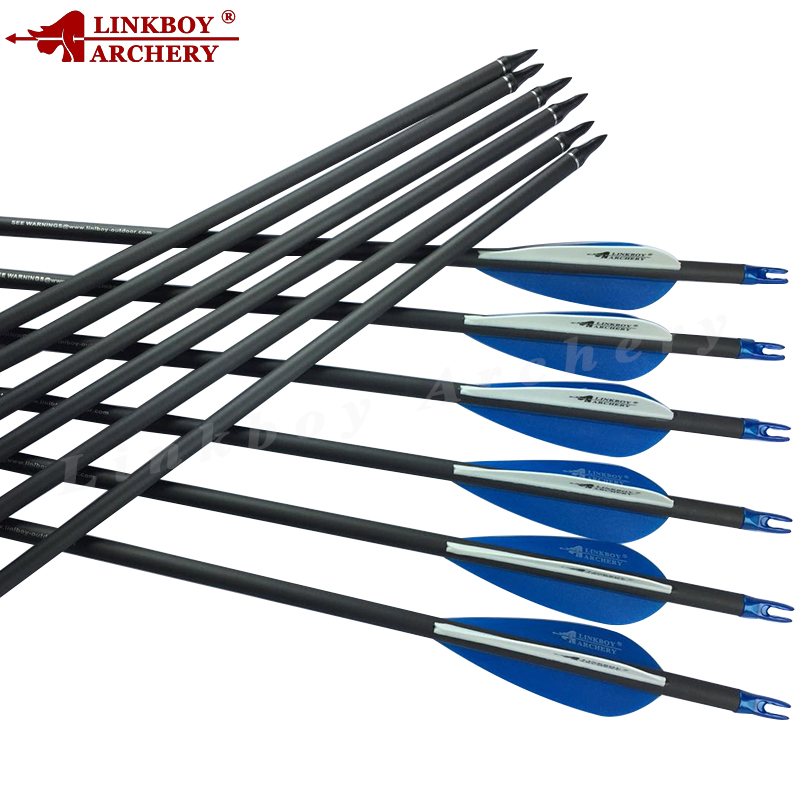 Linkboy Archery  Pure Carbon Arrow  Spine400 28/29/30/31 Inch ID6.2mm Compound Bow Hunting/Shooting 6/12pcs