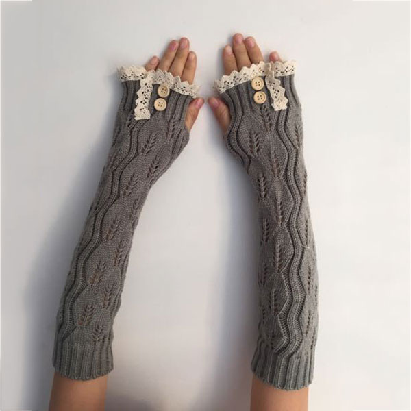 1pair Fashion Ladies Winter Arm Warmer Fingerless Gloves Lace Button Knitted Long Warm Gloves Mittens For Women  NIN668