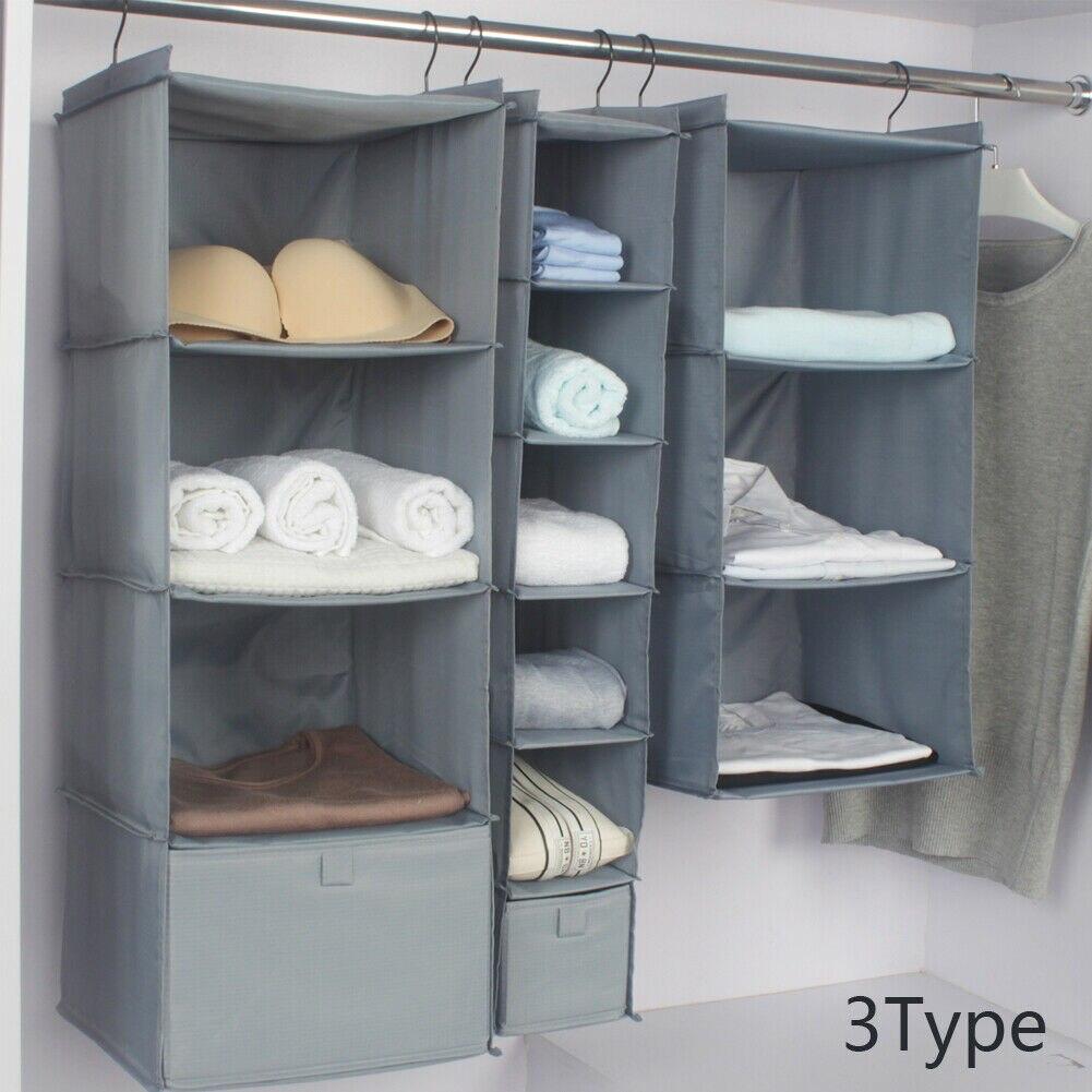 Home Storage Hanging Organizers Wardrobe Organizer Storage Bag Closet Shelf Cloth Hanger Rack Container Closet