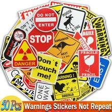50 Pcs 경고 표지 스티커 노트북 오토바이화물 자전거 기타 홈 장식 DIY 위험 금지 알림 재미 있은 스티커