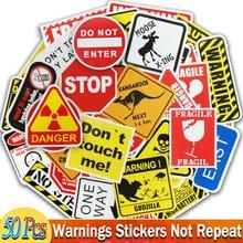 50 Pcs סימני אזהרת מדבקות מחשב נייד אופנוע מטען אופני גיטרה בית תפאורה DIY סכנה האוסר תזכורת מצחיק מדבקה