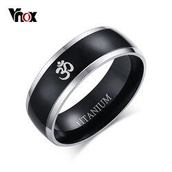 Vnox 8mm AUM OM Black Ring for Men Titanium Casual Simple Male Accessories Religious Faith Jewelry