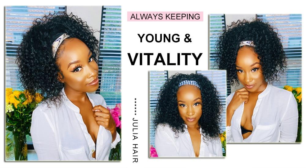 Julia Malaysian Curly Headband Wig Human Hair 14-26 Virgin Hair Scarf Wig Easy to Install Jerry Curl Hair Wig with Headband (111)