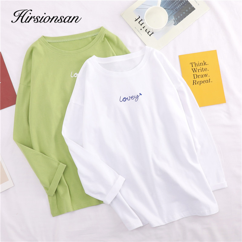 Hirsionsan Women T Shirt Cotton 2019 Summer Harajuku Letter Printed Casual White Kawaii Punk Soft Cute Oversized Long Sleeve Tee