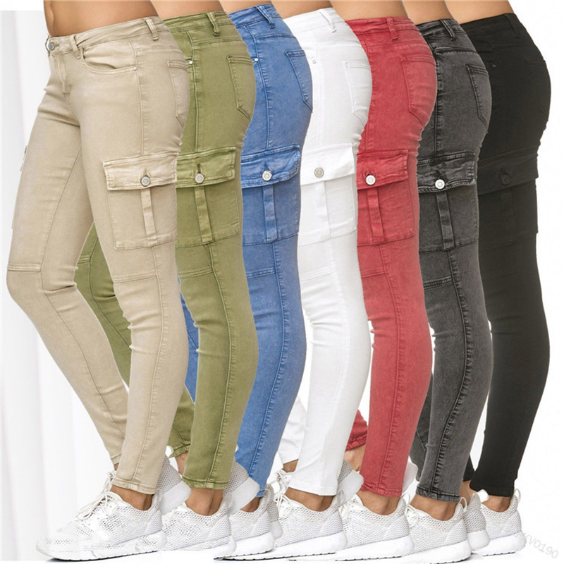 Lugentolo Jeans Woman Spring And Autumn New Solid Side Stand  Skinny Pencil Pants 7 Color Plus Size 3XL