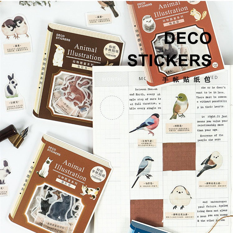 40pcs/lot Forest Animals Birds Vintage Decoration Stationery Sticker Diy Ablum Diary Scrapbooking Label Sticker