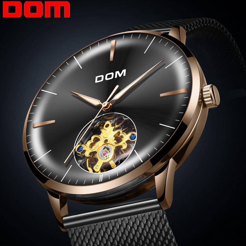 DOM Mens Mechanical Watches Top Brand Fashion Men Sports Watches Waterproof Stainless Steel Luminous Wrist Watch Men M-1268GK-1M