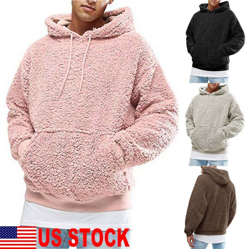 Men Winter Warm Faux Fur Sweatshirt Hoodie Hooded Top Coat Oversized Outwear