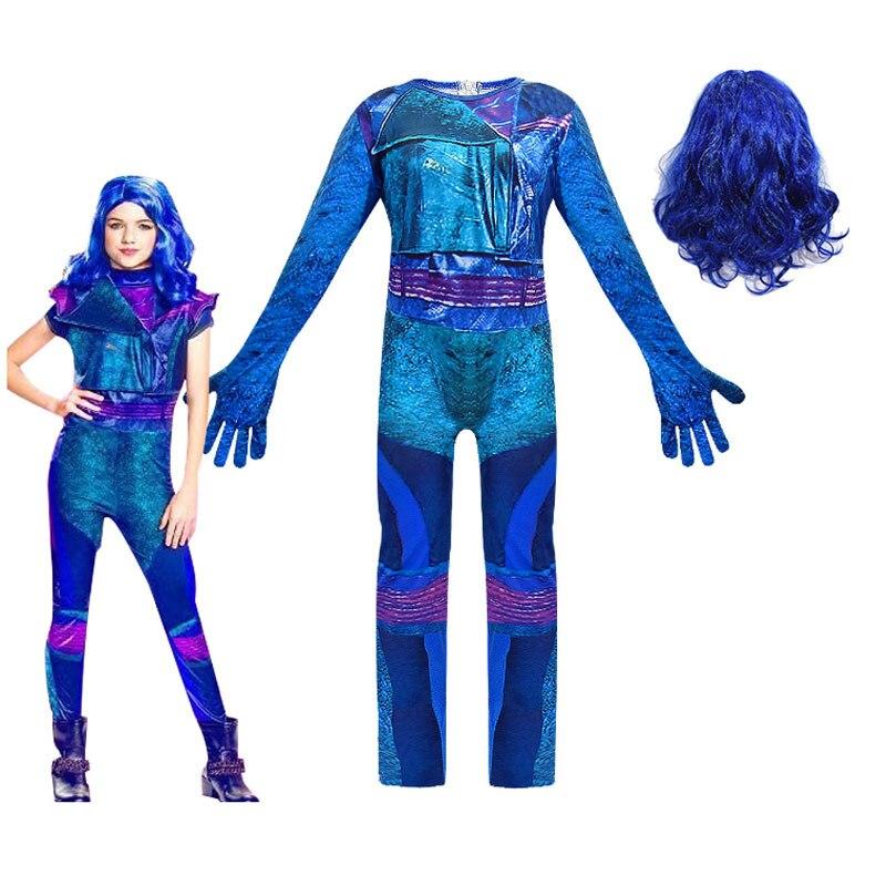 Descendants 1 2 3 Mal Costume Outfits Evil Straight Purple Kids Adult Cosplay Jumpsuit Halloween Costume For Kids Fancy Dresses