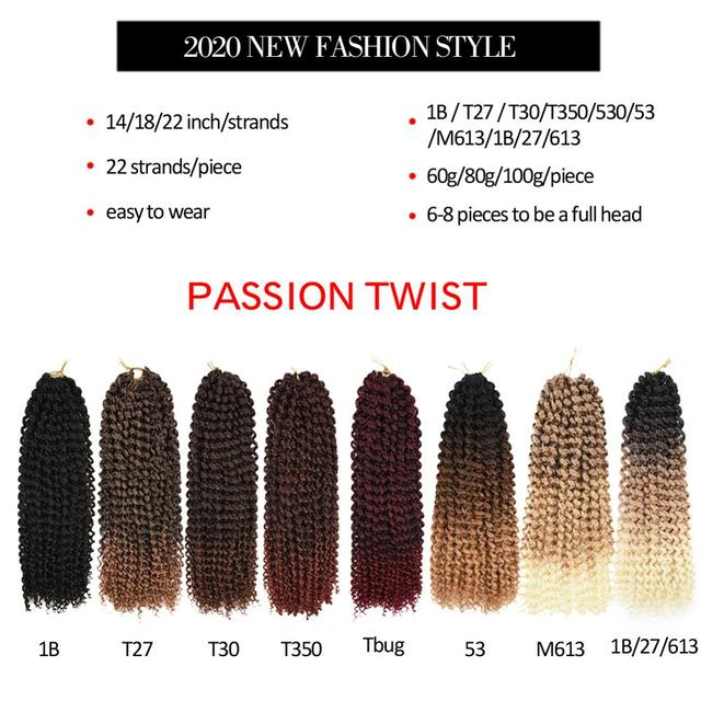 TOMO Passion Twist Crochet Hair Synthetic Braiding Hair Extensions 14 18 22Inch 22Strands Spring Twist 80g/Pack Long Black Brown 2